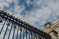 Decorative fence of the Royal Palace in Madrid, Spain