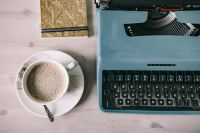 Kaboompics - Working with old typewriter in the rainy day