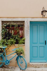 Blue doors and blue bicycle, Rovinj, Croatia