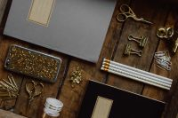 Kaboompics - Office accessories on an old wooden tray