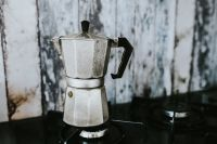 Kaboompics - Metal coffee pot on a stove