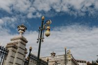 Kaboompics - Gold lamp & Decorative fence of the Royal Palace in Madrid, Spain