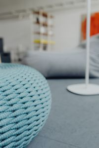 Kaboompics - Blue knitted pouf