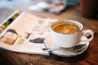 Kaboompics - Cup of Coffee, Magazine, Wooden Desk
