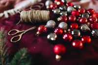 Kaboompics - Christmas Balls, Scissors and Twine