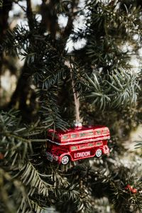 Christmas tree decoration in the shape of a red London bus