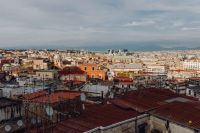 Panorama of the city Naples. Old houses at sunset