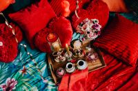 Valentine's Day Breakfast in Bed: Coffee, flowers, tray, pillows