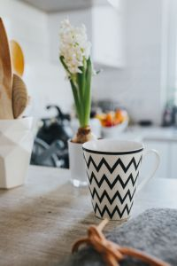 Kaboompics - Black&white cup with a green plant