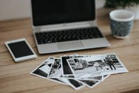 Kaboompics - Black-and-white photos with a silver laptop, a smartphone and a mug