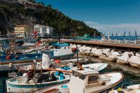 Small fishing boats at harbor Marina Grande in Sorrento, Campania, Amalfi Coast, Italy