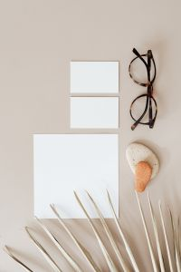 Kaboompics - Blank cards & glasses on beige background