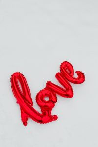Red Balloon in shape of Love Word