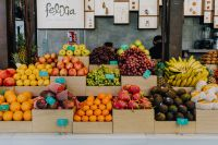 A fresh fruit assortment displayed at San Miguel Market