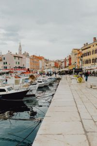Port and marina with boats in the old town of Rovinj, Croatia