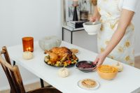 Preparing a Thanksgiving dinner - festive meal