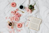 Kaboompics - Pink rosses - coffee - laptop - book - glasses