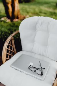 Kaboompics - Outdoor office with laptop and glasses