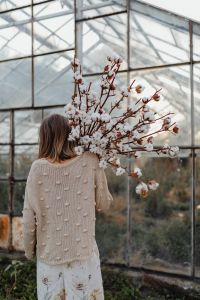 Kaboompics - A beautiful tall woman holds cotton branches