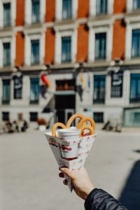 Kaboompics - Churros with a cup of hot chocolate