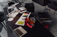 Architect & Interior designer working table with equipment and material samples