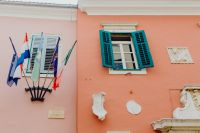 Kaboompics - Pastel pink building with turquoise shutters, Rovinj, Croatia