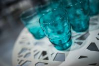 Kaboompics - White table with cyan glasses