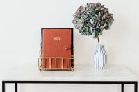 Planner on The White Marble Table, White Background, HYDRANGEA