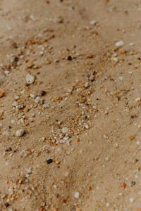 Kaboompics - Sand beach background with sea shells & pebbles - many round small stones
