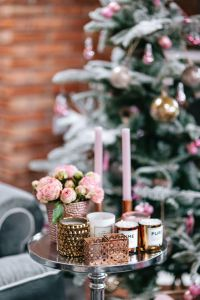Kaboompics - Side table with pink decorations