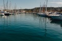 Marina with boats in the Adriatic Sea in Izola, Slovenia