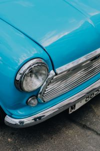Old blue Mini Cooper