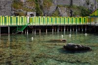 Changing rooms at the beach in Sorrento, Tyrrhenian sea, Amalfi coast, Italy