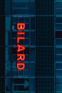 Kaboompics - Neon sign Bilard on the building
