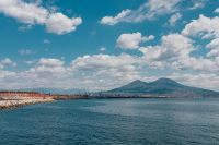 Naples, Italy. Tyrrhenian Sea And Landscape With Volcano Mount Vesuvius
