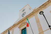 Kaboompics - Italian flag hung on the building