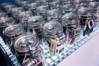 Kaboompics - Collection of glass jars with miscellaneous items