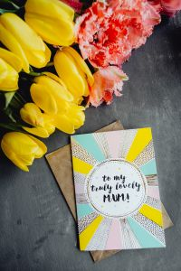 Mother`s Day card with colorful tulip flowers