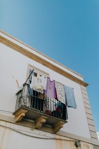 Laundry dries on the balcony