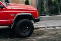 Old red Jeep Cherokee