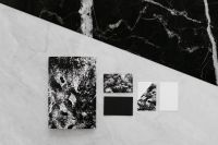 Kaboompics - Black & white mockup business brand template on marble background