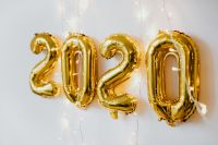 New Year's Eve - Golden balloons in the shape of the year 2020