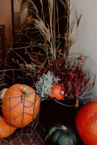 Kaboompics - Pumpkins and flowers as decoration on stairs