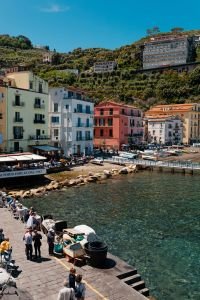 Bright colored buildings & people in Sorrento, Italy