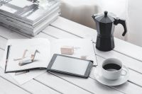 Kaboompics - Coffee on table with a tablet