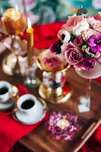 Valentine's Day Breakfast in Bed: Coffee, flowers