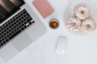 Macbook Laptop, donuts & coffee