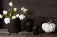 Dark mood home decorations with pumpkin & flowers