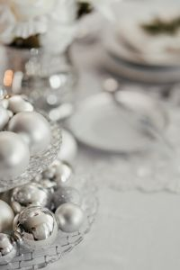 Kaboompics - Silver balls on a glass stand on the table