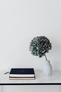 Kaboompics - Books On Marble Table, White Background, Hydrangea